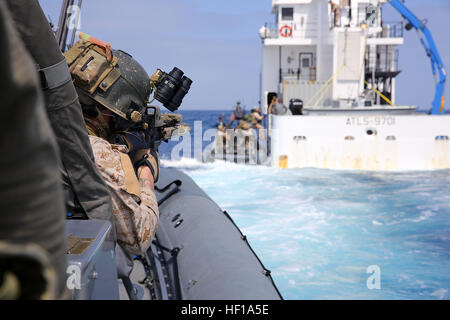 Members of 1st Marine Special Operations Battalion practice boarding and searching ships. Marines train for Visit, - Stock Photo
