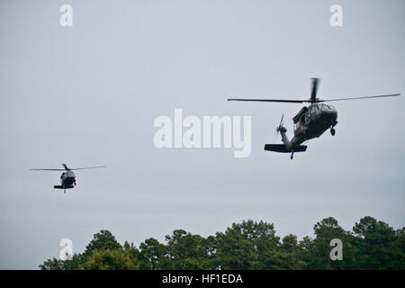 Two U.S. Army UH-60 Black Hawk helicopters from the 1-150 Assault Helicopter Battalion, New Jersey Army National - Stock Photo