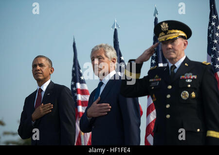 From left, President Barack Obama, Secretary of Defense Chuck Hagel and Chairman of the Joint Chiefs of Staff U.S. - Stock Photo