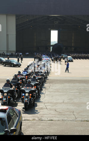 STEWART AIR NATIONAL GUARD BASE, NEWBURGH, NY -  Motorcycles belonging to police officers from New York and Connecticut - Stock Photo