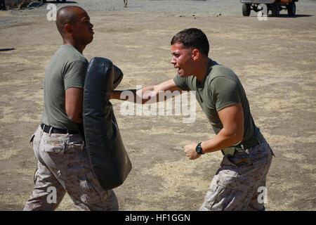 Lance Cpl. Garrett Ray, fire team leader, Delta Company, 1st Battalion, 1st Marine Regiment, strikes a punching - Stock Photo