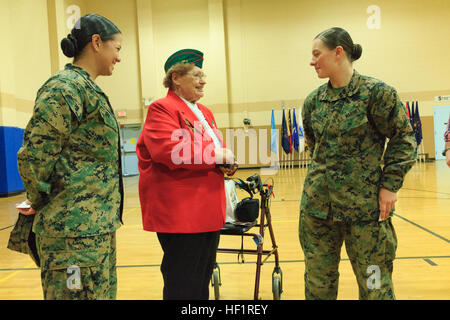 Pfc. Cristina Fuentes Montenegro, 25, one of the first three female Marine graduates from the School of Infantry - Stock Photo