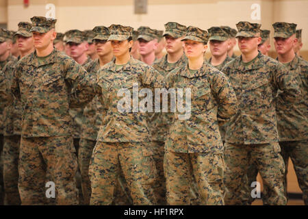 U.S. Marines PFC. Cristina Fuentes Montenegro (Center Left) and PFC. Julia R. Carroll (Center Right) of Delta Company, - Stock Photo