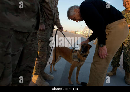 U.S. Secretary of Defense Chuck Hagel, second from right, pets Bailey, a U.S. military working dog, while visiting Service members at Kandahar Airfield, Kandahar province, Afghanistan, Dec. 8, 2013. (DoD photo by Erin A. Kirk-Cuomo/Released) Secretary of Defense 131208-D-BW835-1125