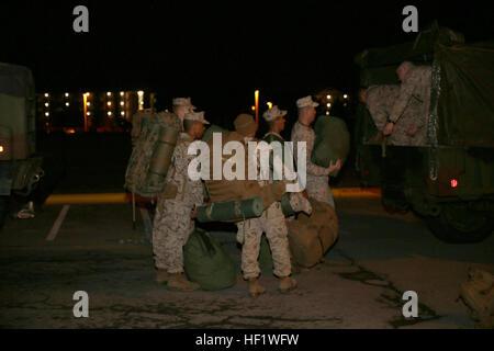 Marines and sailors with Combat Logistics Battalion 24, Combat Logistics Regiment 27, 2nd Marine Logistics Group - Stock Photo