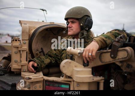 U.S. Marine Corps Cpl. Matthew Moores, a tank commander, Delta Company, 2nd Tank Battalion, 2nd Marine Division, - Stock Photo