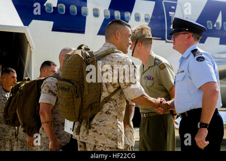 Lt. Col. Keven Matthews, commanding officer, Marine Rotational Force - Darwin is the first Marine off the plane - Stock Photo