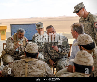 Col. Albert J. Ricci Sr., commander of the 42nd Combat Aviation Brigade (CAB), speaks to Royal Saudi Land Forces - Stock Photo