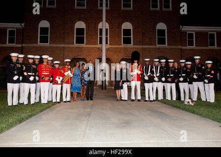 From center left, First Lady of the United States Michelle Obama; Sasha Obama; the Evening Parade guest of honor, - Stock Photo