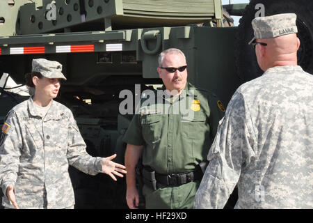 Army Lt. Col. Jennifer Fadeley escorts members of the U.S. Customs and Border Protection, Tucson Sector, through - Stock Photo