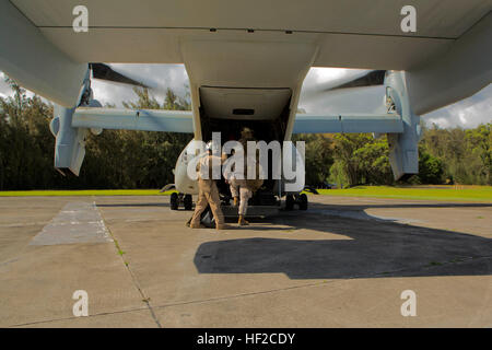 Members of the 11th Marine Expeditionary Unit board a MV-22 Osprey on Camp H.M. Smith, Hawaii, August 4, 2014. The - Stock Photo