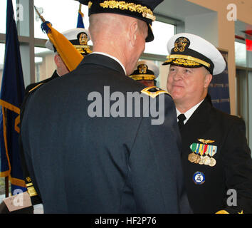 New York Army National Guard Maj. Gen. Patrick Murphy, the adjutant general of New York, transfers the colors of - Stock Photo