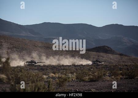 M1A1 Abram Tanks assigned to Delta Company, 1st Tanks Battalion, 1st Marine Division, participates in 1st Battalion, - Stock Photo