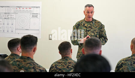 Gen. Joseph Dunford, 36th Commandant of the Marine Corps, speaks on the future of the Marine Corps to recent graduates - Stock Photo