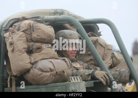 U.S. Marines with Battery 'E', 2nd Battalion, 11th Marine Regiment and members of the Japan Ground Self Defense - Stock Photo