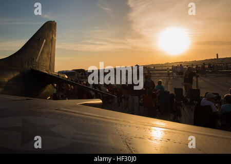 As part of the annual Yuma Airshow, attendees get ready for the Twilight Show at Marine Corps Air Station Yuma, - Stock Photo