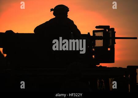 A Marine with Combined Anti-Armor Team 2, Battalion Landing Team 3rd Battalion, 6th Marine Regiment, 24th Marine - Stock Photo