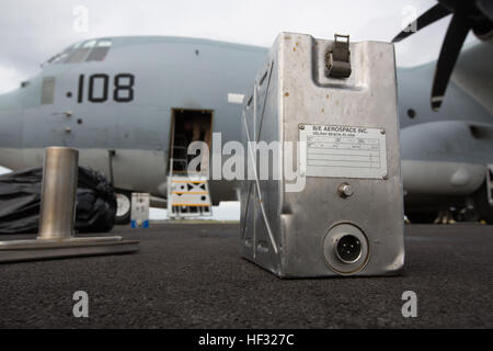 A water jug is placed outside of a KC-130J Super Hercules to be refilled in preparation for a Flight In Support - Stock Photo