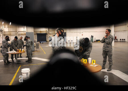Air National Guard emergency managers sample unidentified substances during the Global Dragon deployment for training - Stock Photo
