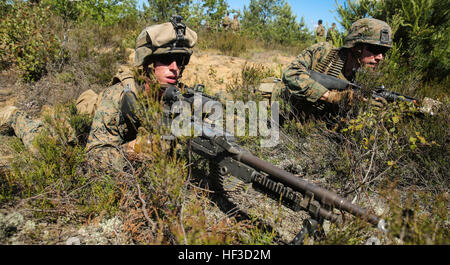 A U.S. Marine with Black Sea Rotational Force engages enemy force June 12, 2015, during Exercise Saber Strike at - Stock Photo