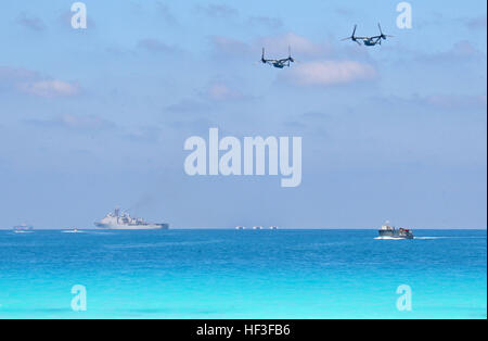 Two MV-22B Ospreys from Marine Medium Tiltrotor Squadron (VMM) 263 (Reinforced) attached to the 22nd Marine Expeditionary - Stock Photo
