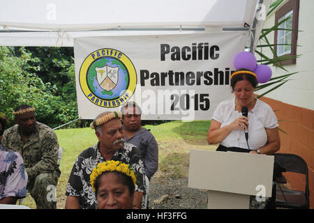 U.S. Ambassador to the Federated States of Micronesia Doria Rosen thanks members of Pacific Partnership 2015 after - Stock Photo