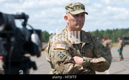 Chief of Staff-Army, Gen. Raymond T. Odierno speaks during a press conference after a military demonstration involving - Stock Photo