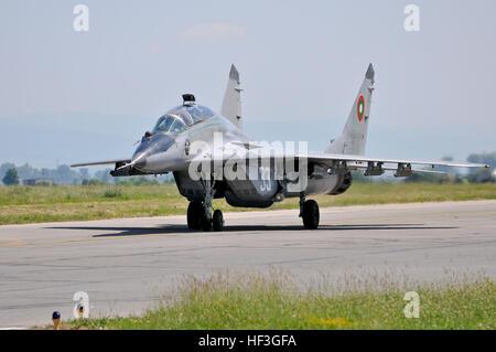 A Bulgarian air force MiG-29 Fulcrum taxis after landing at Graf Ignatievo Air Base, Bulgaria, during Thracian Star - Stock Photo