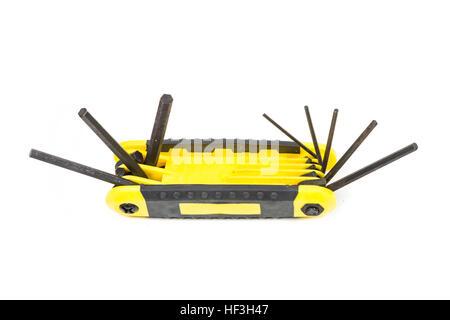 Hex wrench key set isolated on white background - Stock Photo