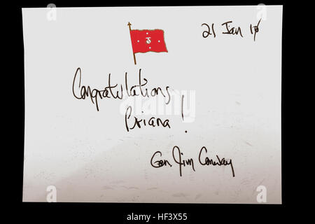 A signed message from Gen. James T. Conway, commandant of the Marine Corps, was included in Briana Menendez' Honorary - Stock Photo