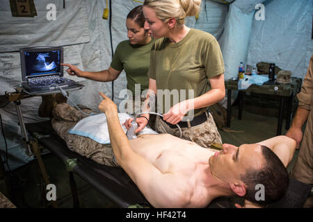 U.S. Navy Hospital Corpsman 2nd Class Ashley Tockweiler practices proper positioning procedures on U.S. Navy Lt. - Stock Photo