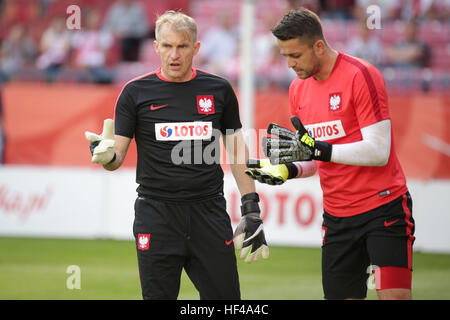 KRAKOW, POLAND - June 06, 2016: Inernational Friendly football game Poland - Lithuania o/p  Lukasz Fabianski Jaroslaw - Stock Photo