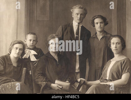 The German family from USSR. All family are deported in Siberia in 1941-1942. Retro photo, circa 1925, USSR - Stock Photo