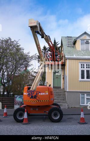 mobile elevating work platform in Reykjavik - Stock Photo