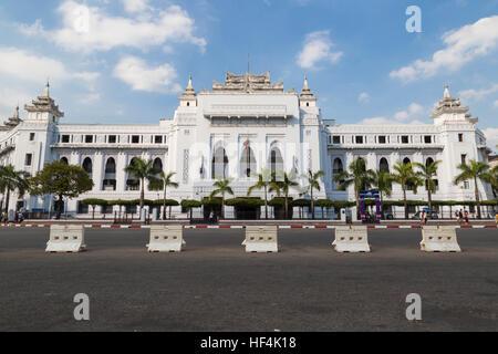 The withe building of Yangon City Hall, Myanmar - Stock Photo