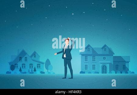 Business concept vector illustration. Real estate, investment opportunity, choice and to decide concept. Elements - Stock Photo