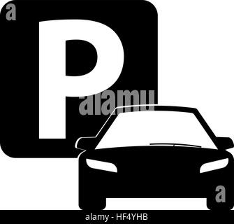 Car icon isolated, parking sign, car parking, valet. Flat design, vector image vector - Stock Photo