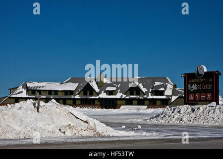 The Appalachian Mountain Club Highland Center at Crawford Notch, New Hampshire, USA, snow covered in winter - Stock Photo