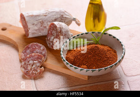 Pure pork salami with chili - traditional Italian food - Stock Photo