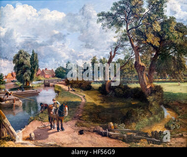 Flatford Mill, Constable. Flatford Mill 'Scene on a Navigable River' by John Constable, oil on canvas, 1816-17. - Stock Photo