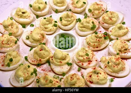 Deviled eggs served for a holiday party - Stock Photo