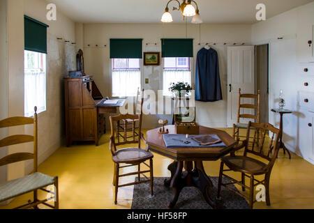 Interior view of sitting room, Canterbury Shaker Village; Canterbury; New Hampshire; USA - Stock Photo