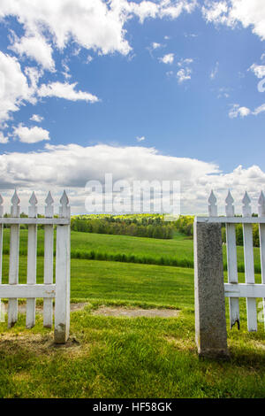 Gate, fence, gardens, countryside, Canterbury Shaker Village; Canterbury; New Hampshire; USA - Stock Photo