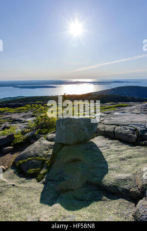View east at sunrise from the top of Cadillac Mountain, 1,530' elevation.  Highest point in continental USA east - Stock Photo