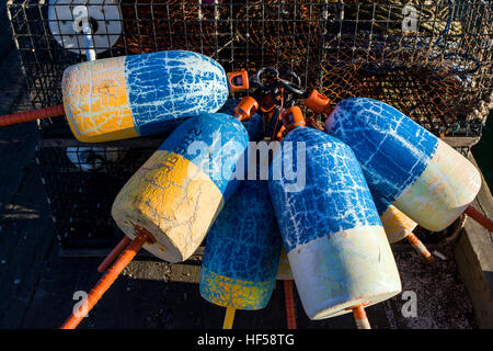 Close up of colorful buoys used by lobster fisherman, Southwest Harbor, Maine, USA - Stock Photo