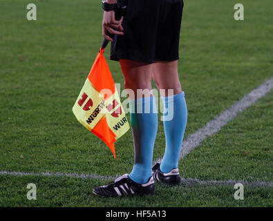 Referee assistant during a football game - Stock Photo