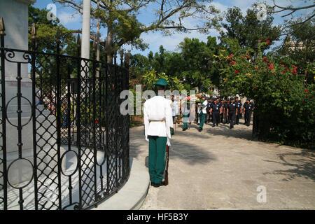 Military parade at Plaza de Armas close to the Carlos Manuel de Céspedes Memorial in Havana, Cuba, Caribbean, Americas - Stock Photo