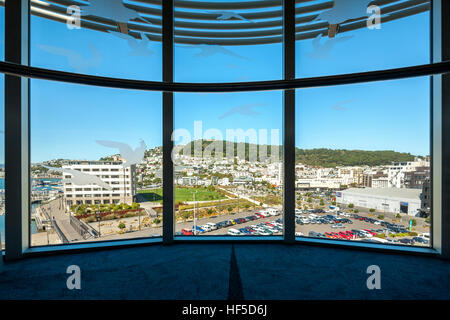 Mount Victoria Wellington New Zealand. View from Te Papa Museum Wellington towards Mt Victoria and the waterfront - Stock Photo