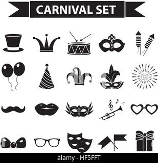 Carnival icon set, black silhouette style. Party, masquerade collection signs, symbols, isolated on white background. - Stock Photo