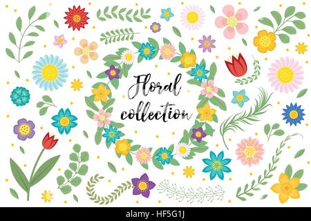 Flowers and leaves set. Floral collection isolated on white background. Spring, summer design elements for invitation, - Stock Photo